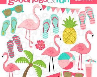 Buy 2, Get 1 FREE - Happy Flamingo Clipart- Digital Summer Flamingo Clipart - Instant Download