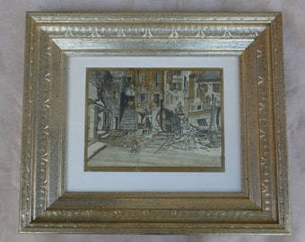 Courtyard Venice, Lionel Barrymore Gold Foil Etch Style Framed Art Print, Vintage Wall Decor