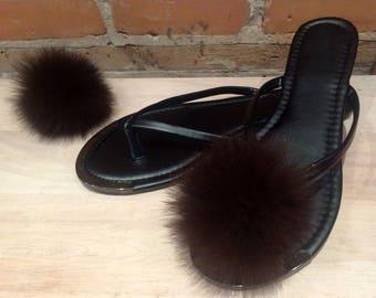 Recycled Fur Shoe Poms - Pair of Brown Black Fox Real Fur Shoe Pom Poms - 3-Inch