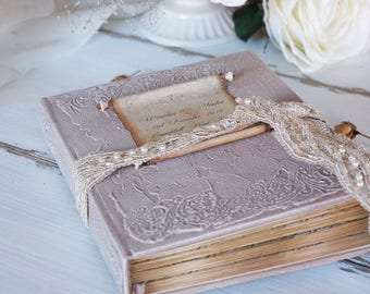 French Vintage Wedding Guest Book, Warm Taupe guest book, Neutral Fall Photo album, Shabby Chic Wedding, Custom Wedding Photo Booth album