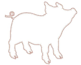 Baby Pig Applique Embroidery Design Instant Download multiple formats, sizes and edging