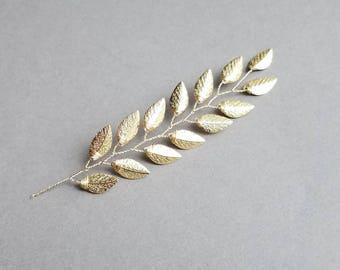 Gold Leaf Hair Comb, Wedding Head Piece, Gold Hair Vine, Bridal Hair Vine, Leaf Hairpiece, Gold Vine Hair Pins, Vine Hair Comb
