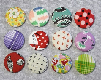 Fabric Button Magnets - Set of 12 - Feedsack and Novelty Prints 2