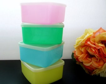 Vintage Tupperware Pastel Square Round Containers With Lids, Set of 4