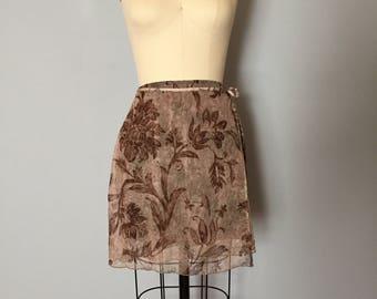 barocco mesh wrap skirt   1990s mesh wrap mini skirt with bow straps   barocco flowers skirt