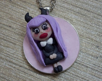 Polymer Clay Nu Goth Girl Pendant Necklace // gift for her // devil horns // purple hair // big eyes // soft grunge // bubblegum goth