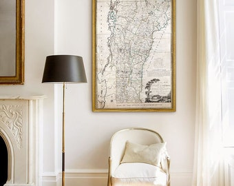 """Old map of Vermont 1796 Historical Vermont Map in 6 sizes up to 48x72"""" in 1 or 6 parts XL wall map of Vermont - Limited Edition of 100"""