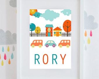 Boys city car scene gift personalised print available framed or unframed.