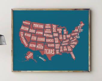 Printable Map of USA, Play Room Decor, Play Room Wall Art, Play Room Sign, Kids Room Decor, Kids Room Art, US Map, United States Map