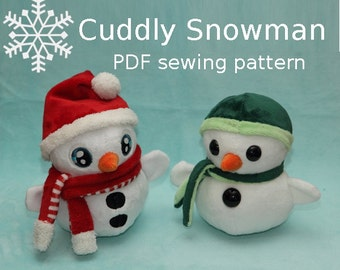 Snowman stuffed animal handheld size plushie PDF sewing pattern - cute and easy kawaii anime DIY plush toy