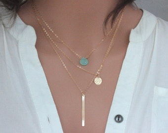 Three layered necklaces , Gold Tripal Layered Bar/Disc/Gemstone , Three Layering Necklace Set , Layering Necklace Set , Layering necklace
