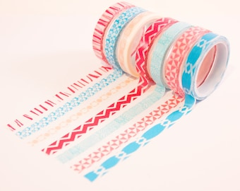 small thin washi tape set of 7 in pink and light blue. Small washi tape for thin places. Paper tape, masking tape, deco tape