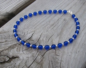 Blue and Silver Beaded Ankle Bracelet -Ankle Candy in Blue- Beaded Ankle Bracelet