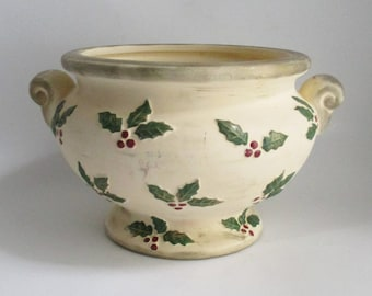 Vintage Christmas Planter Ceramic Bisque Holly Berries FTD Vase Made in Thailand