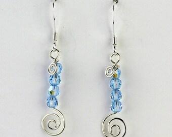 Swarovski Crystal Earrings, Aqua Blue Swarovski, Spiral Wire Earrings, Swarovski Crystal, Gift For Her,  Aqua Blue Crystal Earrings,
