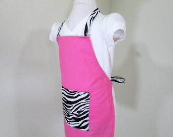 Childrens Apron  - Solid Hot Pink apron with a Zebra print on Pocket and Straps, great for cooking, arts and crafts, painting