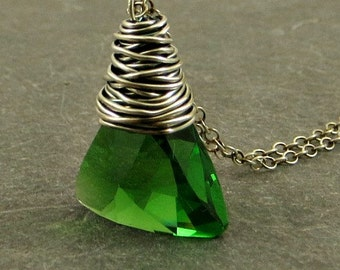Crystal Necklace, Green Crystal Necklace, Wire Wrap Jewelry, Holiday Jewelry Gifts for Her