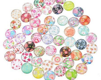 4 mm fleur18 printed glass cabochons