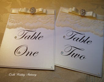 Vintage Lace Table Number. Wedding Table Name. Art Deco Table Number.