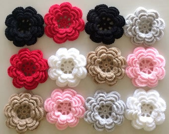 Lot 12 pcs Crochet Flowers Handmade Applique Embellishment sewing in Black , white, red, pink, gray, Brown  size 2.75 ""