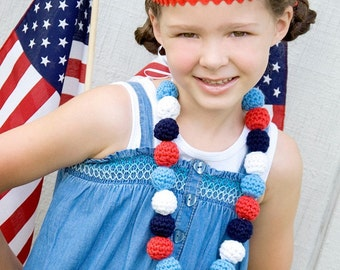 Red White Blue Necklace Fourth of July Necklace 4th of July Necklace Patriotic Necklace Military Pride Crochet Necklace Beaded Necklace Girl