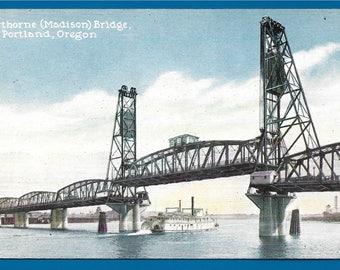 Vintage Postcard - Hawthorn or Madison Bridge over the Willamette River in Portland, Oregon  (2536)