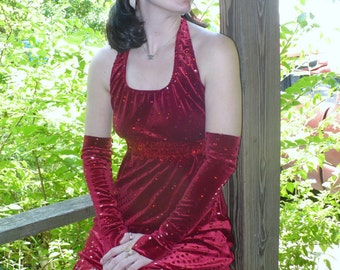 1920s Style Jazz AGE style Red Burlesque Flapper Costume with fingerless gloves by jeansvintagecloset on Etsy