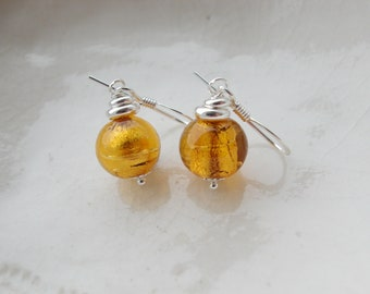 Tiny Murano Glass Earrings, 6mm Round Glass Earrings