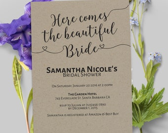 Bridal Shower Invitation, Bridal Shower Cards, Bridal Shower , Rustic and Bohemian Bridal Shower,Tea Party,Garden Party#27