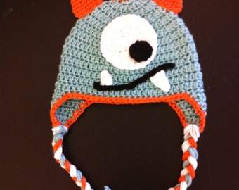 Crochet Monster Cutie Hat, newborn baby toddler kids monster hat, warm knit winter hat with earflaps and spikes, boys or girls, silly beanie