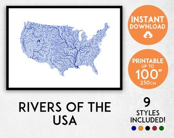 USA map art, Printable America map print, USA print, America poster, Rivers USA wall art, America wall art, United States map, America art