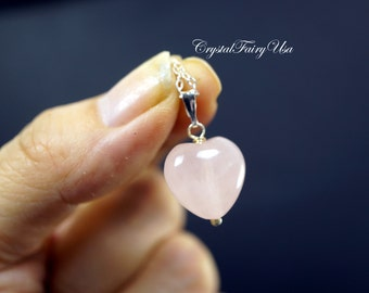 Rose Quartz Heart Necklace - Sterling Silver Rose Quartz Necklace - Tiny 14k Gold Filled Rose Quartz Pendant - Heart Chakra Healing Necklace