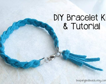 DIY Braided Leather Tassel Bracelet KIT + Video Tutorial (Available in Aqua, Black, or Beige leather)