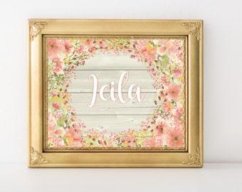 Personalized Nursery Print, Baby Girl Nursery Wall Decor, Nursery Art, Nursery Artwork, Floral Nursery Art Girl,  Coral Peach Pink Gold