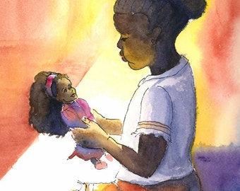 A Girl and her Doll 8x10 print