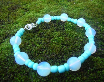 Opalite bracelet, Sea green, Bracelet, Bracelets, Earrings, Opalite earring, Jewelry set, Dangle earrings, Drop earrings, Opalite