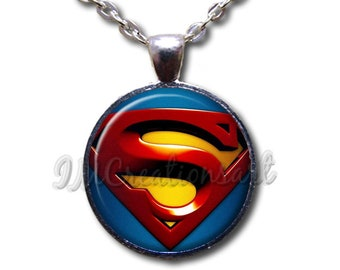 Classic Superman Comic Super Hero Glass Dome Pendant or with Chain Link Necklace or Key Ring