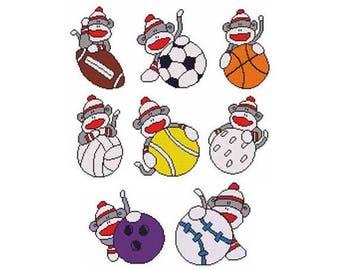 Sports Sock Monkey Combo Counted Cross Stitch PDF Pattern