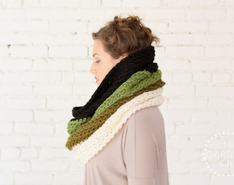 The Ombré Cowl | MOSS | Chunky Knit Ombré Oversized Huge Textured Winter Cowl Scarf