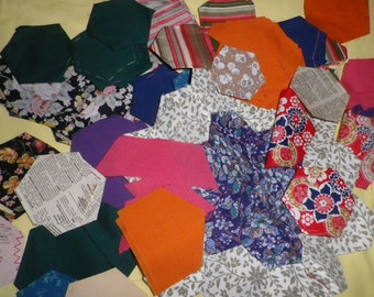Large Bundle of Vintage Patchwork Hexagonal Fabric Pieces Templates and Papers