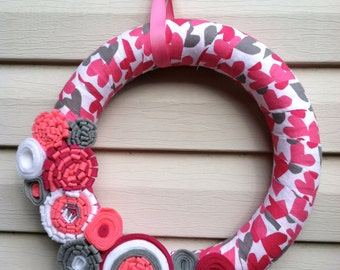 Valentine's Day Wreath - Pinks, White, & Gray Fabric decorated w/ felt flowers. Valentine's Day Wreath - Valentine's Day Decoration