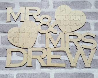 Personalized Puzzle Guestbook, Mr & Mrs Guestbook, Jigsaw Puzzle Wedding Guest Book,  Wedding Guest Book Alternative, Personalised Guest