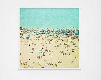 Large Aerial Beach Photography Wall Art // Beach People Photography // Coney Island Beach Print // Large Beach Prints, Beach People Print
