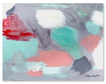 Lummerland // Modern Abstract Original Acrylic Painting on Canvas, Red, Teal, Pink, Blue, Grey, Gray, Free US Shipping, Lisa Barbero