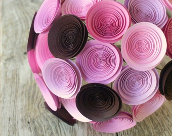 Pink and Brown Paper Flower Bridal Bouquet, Large Wedding Bouquet in Pinks and Chocolate Brown