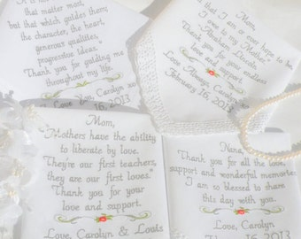 Embroidered Wedding Handkerchiefs, Wedding gifts for mom and dad oof the bride and groom Set of 4 Wedding Gift, by Canyon Embroidery