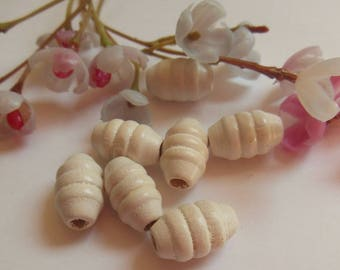 set of 7 gnocchi white painted wood beads