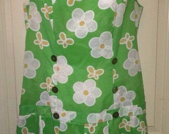 Vtg 70s Royal Miss drop waist mini dress green floral butterfly pattern