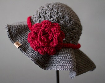 Crochet PATTERN Chloe Sunhat with Rose Ladies Crochet Hat Pattern Includes Sizes Newborn to Adult