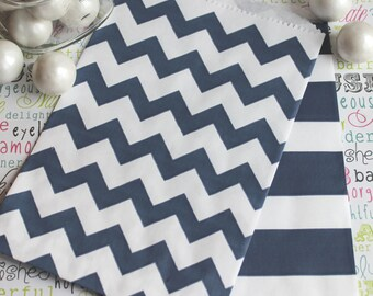 125 Navy Blue Chevron and Rugby Stripe Candy Bags,  Navy Wedding Favor Bags, Navy Favor Bags, Navy Popcorn Bags, Navy Blue Stripe Candy Bags